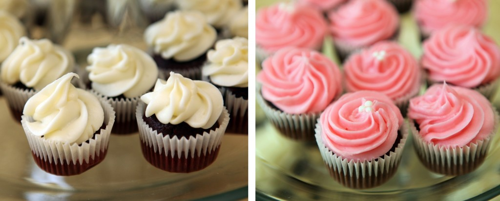 ... cheese and chocolate mini cupcakes with pink vanilla-rum frosting