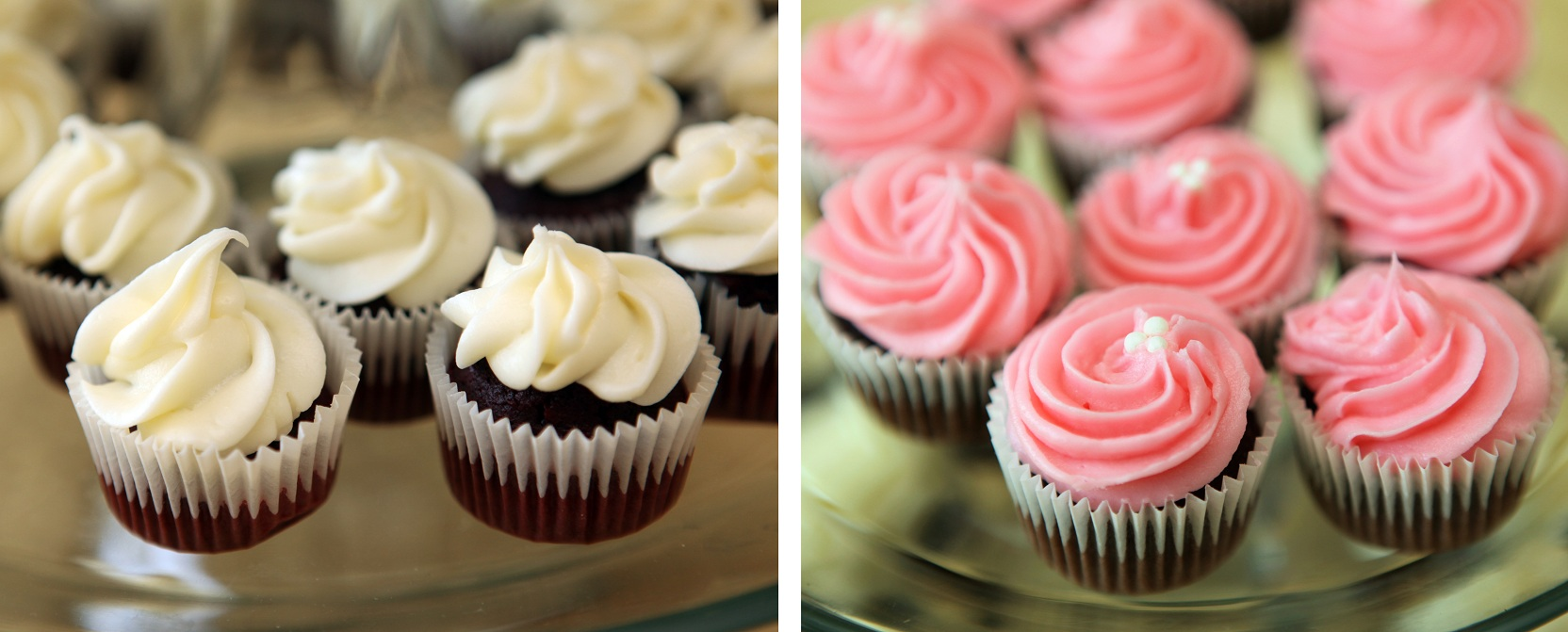 Red velvet mini cupcakes with cream cheese and chocolate mini cupcakes ...