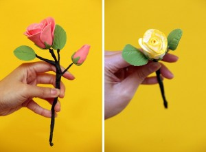 Pink and yellow sugar paste roses