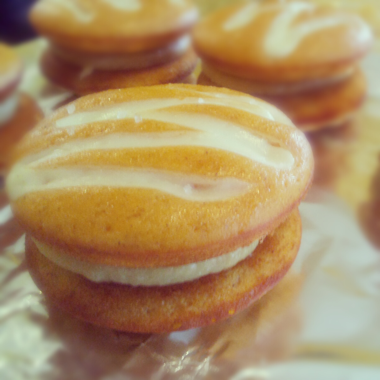 ... cream cheese whoopie pie with caramel-pumpkin-cream cheese filling and