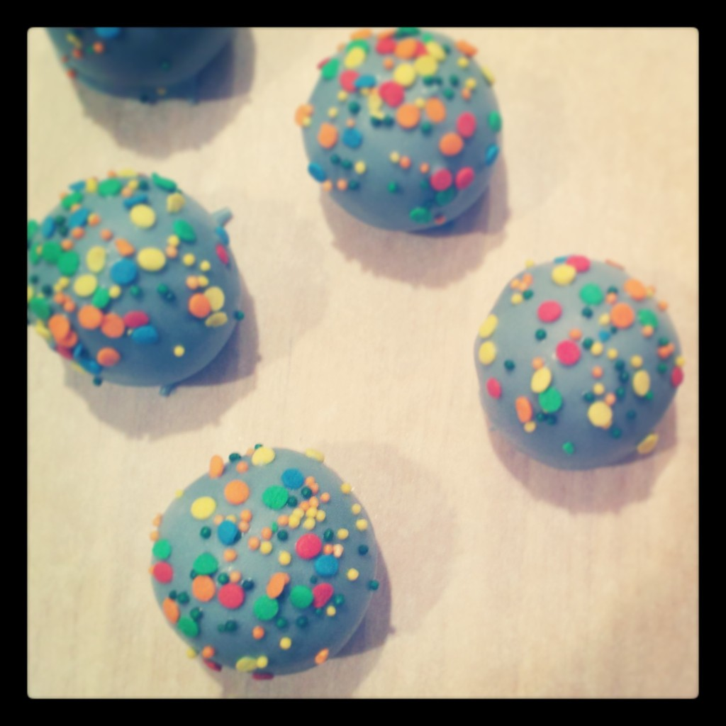 Chocolate birthday cake balls with rainbow sprinkles for the birthday boy!