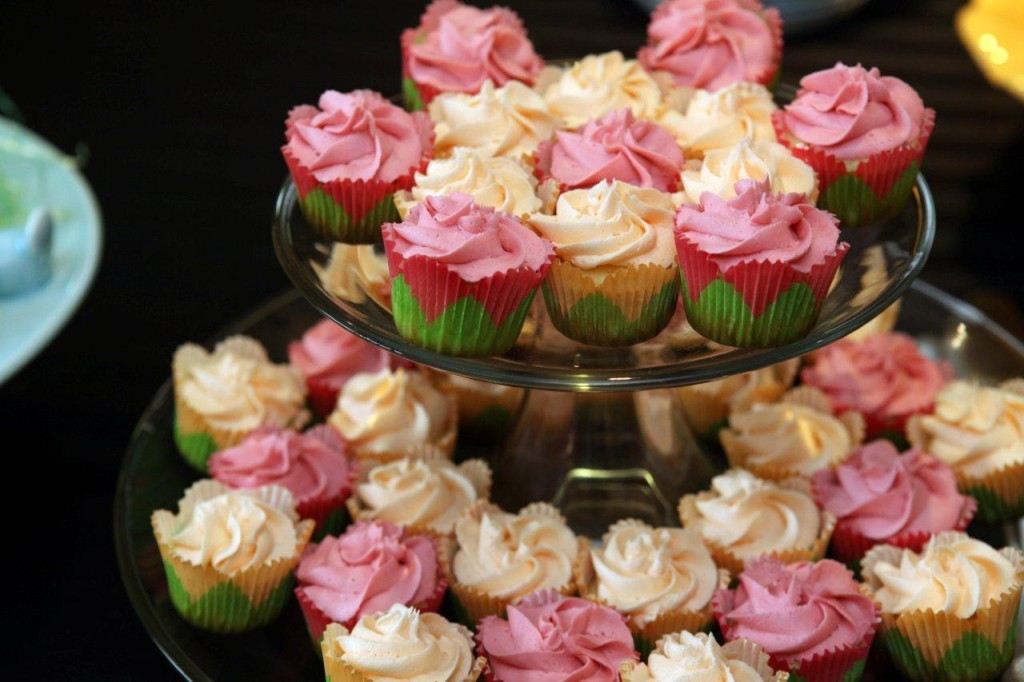 Creamsicle and berry mini cupcake flower tower for Easter