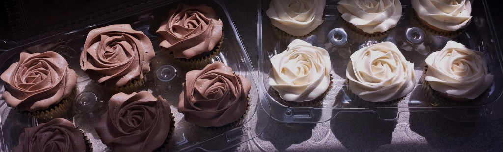 Chocolate and vanilla rosette cupcakes