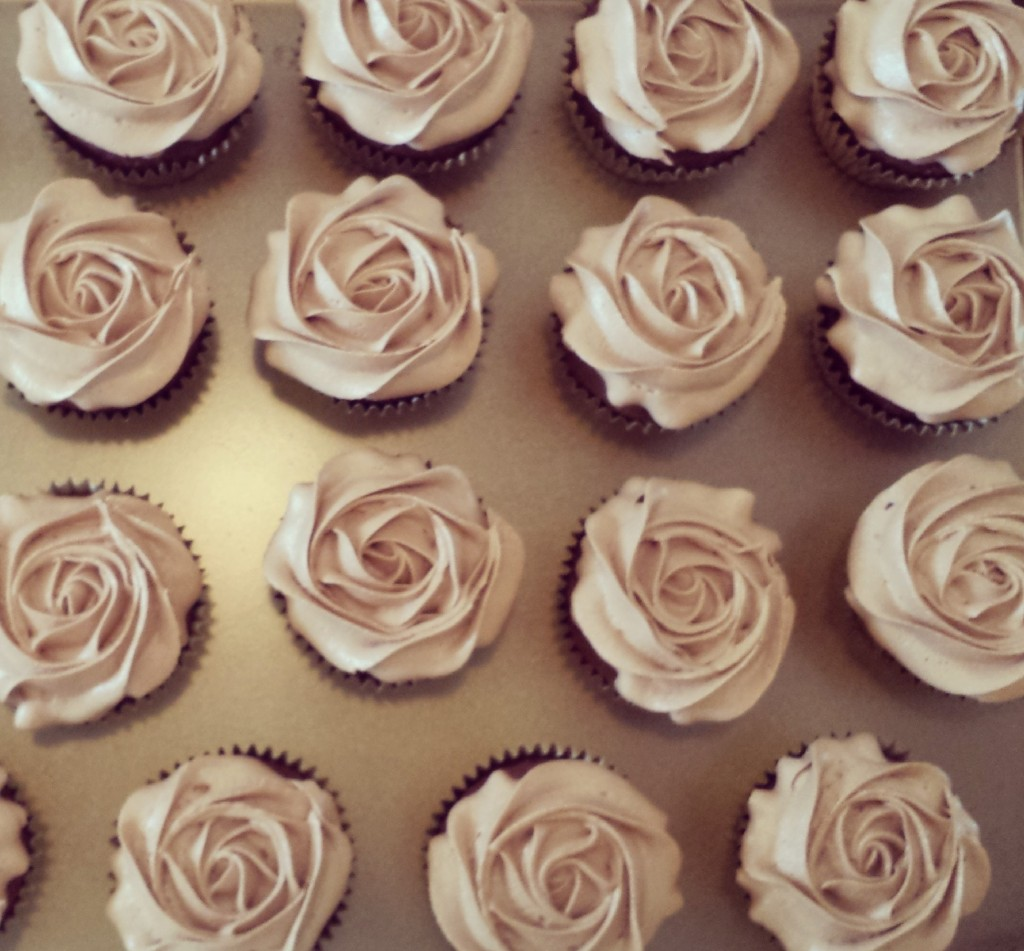 A delicate display of frosted chocolate rosettes