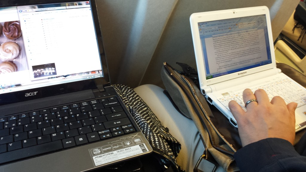 Working on the LIRR... Left: I'm sorting out photos for this blog post entry; Right: Vin is drafting his latest novella