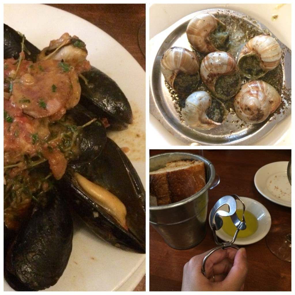Left: Moules Creoles; Top right: Escargots!; Bottom right: bread and the clamper!  =P