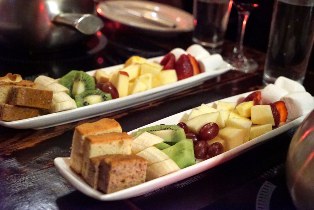 Photo cred: www.johnnyprimesteaks.com - an assortment of fruit, cakes and marshmallow for the chocolate dessert course